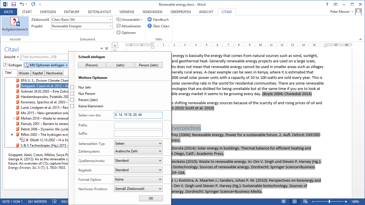 how to add multiple citations in word