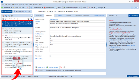 Getting Started > Adding References > Importing PDF Files